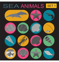 Sea animals icon vector image