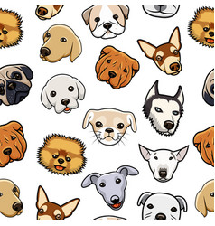 seamless dog head pattern vector image