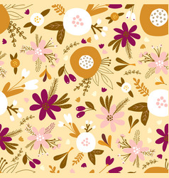 seamless floral pattern with golden white vector image