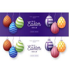 set easter egg sale horizontal banner easter vector image
