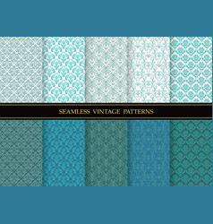 set of damask vintage seamless patterns vector image