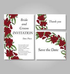 set of handpainted flower wedding invitation card vector image