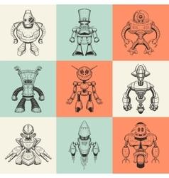 Set of nine with cartoon vector image