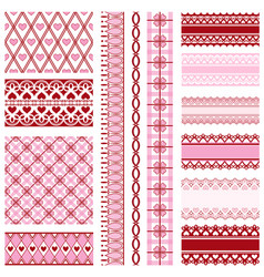 set of ribbons and backgrounds to valentines day vector image