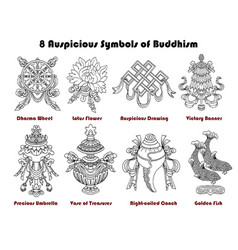 Set with eight auspicious symbols buddhism vector