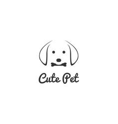 simple minimalist cute dog bit bone face for pet vector image