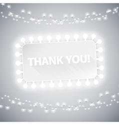 Simple Thank You Card with Christmas Lights vector image