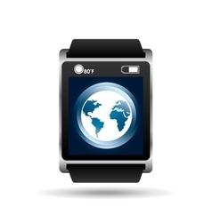Smart watch blue screen global icon media vector