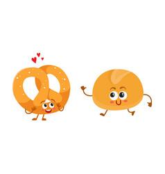 smiling german pretzel and english bun breakfast vector image