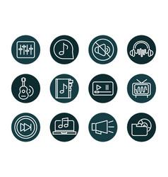 sound audio volume music block style icons set vector image