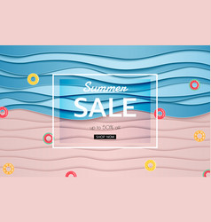 Summer banner sale top view blue sea and beach vector