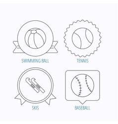 Swimming ball tennis and baseball icons vector