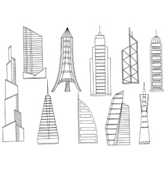 Tall buildings coloring book vector
