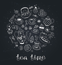 Tea time circle bb vector
