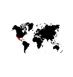 the map mexico is highlighted in red on the vector image
