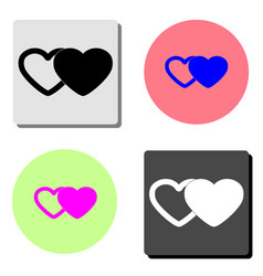 two hearts flat icon vector image