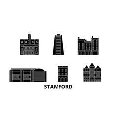 United states stamford flat travel skyline set vector