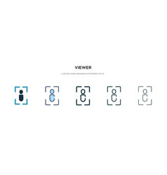 Viewer icon in different style two colored and vector