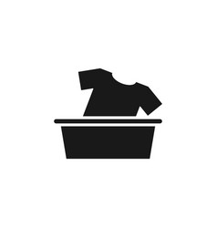 washing clothes icon basket clothes laundry vector image