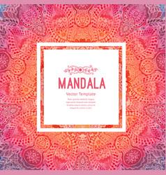 Watercolor mandala square background decor vector