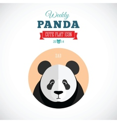 Weekly Panda Cute Flat Animal Icon - Sad vector