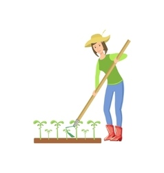 Woman chopping the ground around crops vector