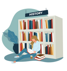 Woman or student reading history books in store vector