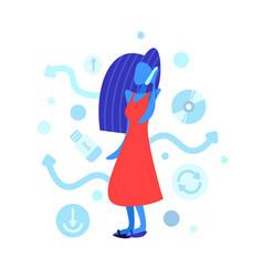woman phone calling faceless female cartoon vector image