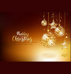 xmas greeting card with gold glitter ornaments vector image