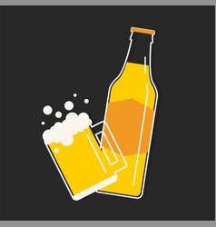 beer bottle and mug vector image