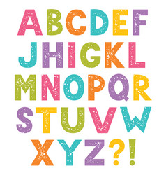 cartoon alphabet letters with stamped texture vector image vector image