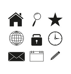 Contact set icons vector