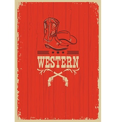 Cowboy western red background for design vector image