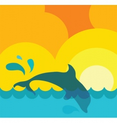 dolphin in water vector image