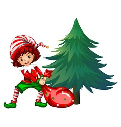 Elf dragging bag under the tree vector image vector image
