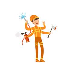 multitasking firefighter character male fireman vector image