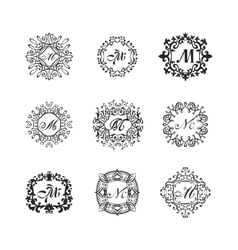 Set luxury monogram template vector image