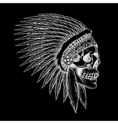skull of indian chief in hand drawing style vector image vector image