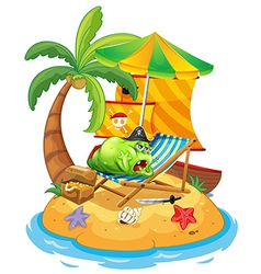 A fat monster relaxing at the beach vector image vector image