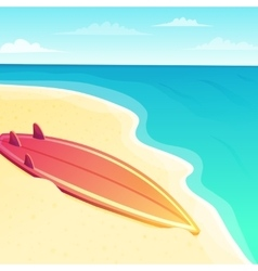 Beautiful beach seascape with surf board on the vector image vector image