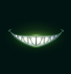 cartoon scary evil smile with big sharp teeth vector image