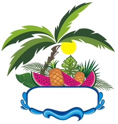 Fresh Fruits on the beach vector image vector image