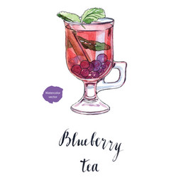 glass of blueberry tea vector image vector image