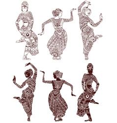 Indian dancers set vector image vector image