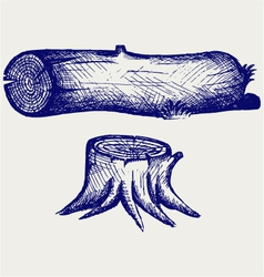 Old tree stump and log vector image