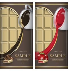 Set of label for white chocolate with coffe and vector image