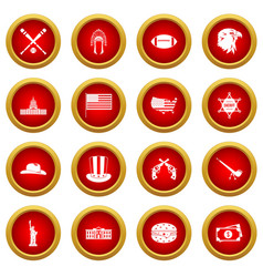 Usa icon red circle set vector