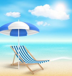 Beach with Sun Beach Umbrella Beach Chair and vector image