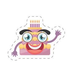 cartoon sweet cake birthday cut line vector image