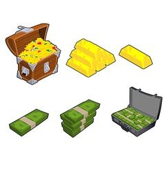 Chest with gold Golden bar Case with money Wad of vector image vector image